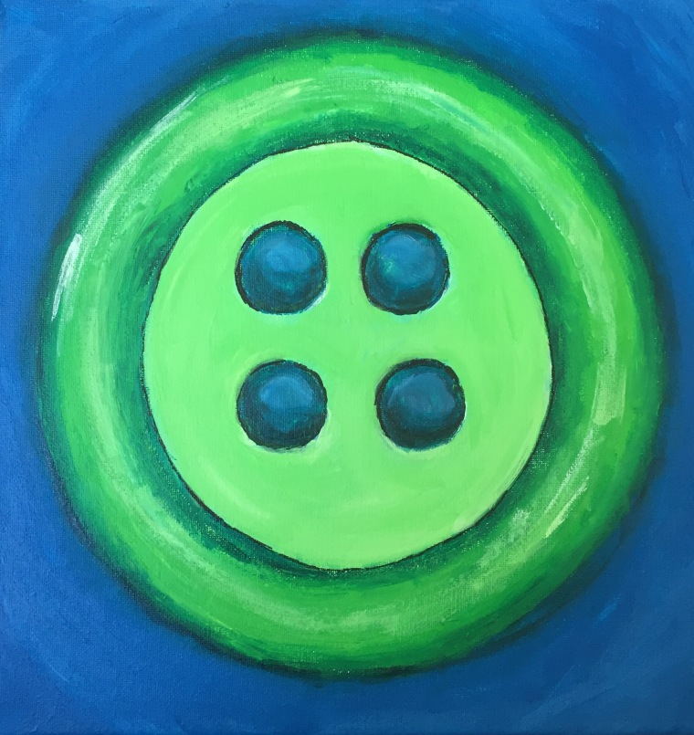 """Green Button"" 12x12 Acrylic on canvas copyright - Amy Greenberg"