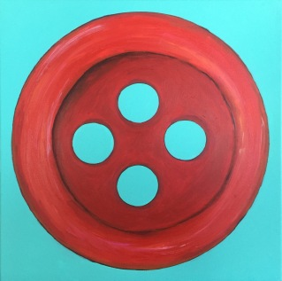 """Red Button"" 20 x 20 Acrylic paint on canvas"