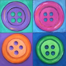 """""""4 Buttons"""" 24 x 24 Acrylic paint on canvas"""
